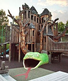 """Worlds Coolest Playgrounds Jungle Gym, Nashville    Come """"swing like a gibbon"""" at Jungle Gym, a 35-foot-tall tree house, cargo-net climbing area, slide, and giant snake tunnel at the Nashville Zoo. It's the largest community-built playground in America (perhaps there's something to that Volunteer State nickname), and a perfect stopover between the African Savannah exhibit—teeming with giraffes, elephants, river hogs—and the Jungle Loop, where leopards, lemurs, and antelopes run wild"""