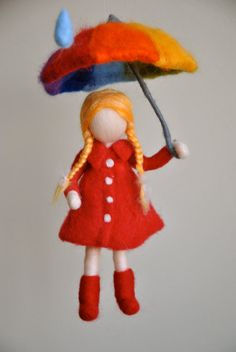 Children mobile Waldorf inspired needle felted girl with umbrella : It's raining Children mobile Waldorf inspired needle felted girl by MagicWool Wet Felting, Needle Felting, Felt Crafts, Fabric Crafts, Felt Wall Hanging, Felt Angel, Wool Dolls, Felt Mobile, Felt Fairy
