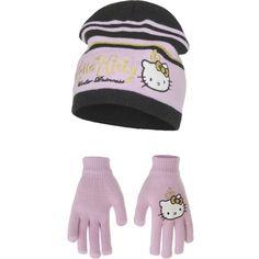 Licht roze Hello Kitty winterset. Deze licht roze met zwarte Hello Kitty winterset bestaat uit een muts en handschoenen. Gemaakt van acryl. Maatindicatie: 52 = (3/5 jaar) en 54 = (6/8 jaar).