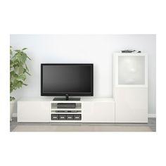 BESTÅ Alm TV - riel p/cajón+apetura presión, blanco/Selsviken alto brillo/vidrioesmerilbl - IKEA