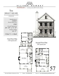 This plan is 1943 Heated Square Feet, 3 Bedrooms and 3 1/2 Bathrooms. Carolina Inspirations, Book III, Page 57, C0557.