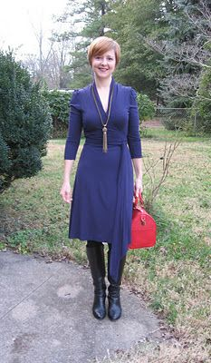 wrap dress, red bag, boots
