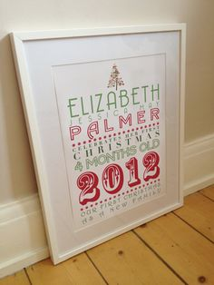 Personalised Framed Babies first Christmas print. £35.00, via Etsy.