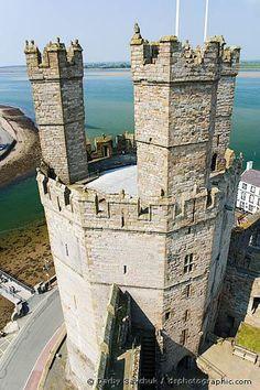 The Eagle Tower of Caernarfon Castle in Gwynedd, North Wales, UK