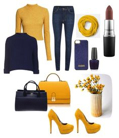 """""""blue and yellow"""" by rabiahk on Polyvore featuring MAC Cosmetics, H&M, Cheap Monday, Florian London, Carriage Oak Cottage, Topshop, Chanel, OPI, Coach and Michael Antonio"""
