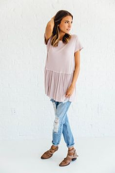 Striped Peplum in Mauve