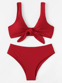 5964aaba89 Knot Front Top With High Leg Bikini Set  bikini  front