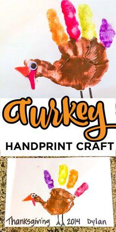 Super Cute Turkey Handprints Craft