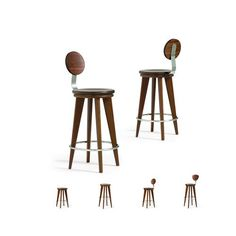 Top Stools in Walnut and Stainless Steel by Altura Furniture on HomePortfolio