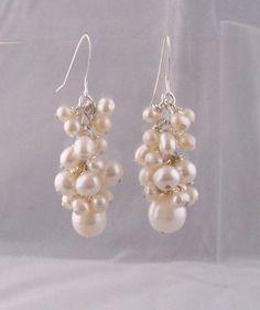 June Birthstone Pearl Jewelry, Genuine Freshwater Pearl Cluster Earrings