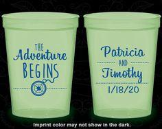 The Adventure Begins, Wedding Favor Glow Stadium Cups, Compass, Destination, Glow-in-the-Dark (289)