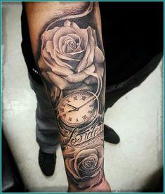 Obtain Free … tattoo arm males tatoos arm mens arm tattoo tattoo clock rose ar… - Tattoo Catalog Rosen Tattoo Mann, Tattoo Arm Mann, Rosen Tattoo Frau, Rosen Tattoos, Arm Tattoos Clock, Cool Arm Tattoos, Forearm Tattoo Men, Trendy Tattoos, Tattoo Clock