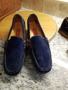 1b93151ebad LADIES WOMENS COLE HAAN COUNTRY SUEDE LOAFERS SZ 8 M DARK BLUE SUEDE   fashion