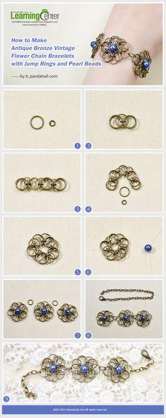 Antique Bronze Vintage Flower Chain Bracelets