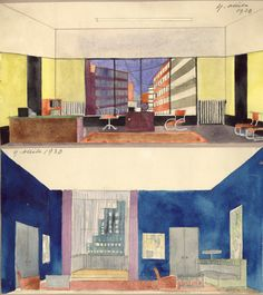 """Two scenography sketches by artist Yrjö Ollila, 1930. Devised for a modernist play Hohtavat Siivet (""""Gleaming Wings"""") by Arvi Kivimaa. The steel tube furniture and the city views from the windows create an instant belongingness to a new and gleaming modern era. Ollila died two years after from a poisoning related to paint colours."""