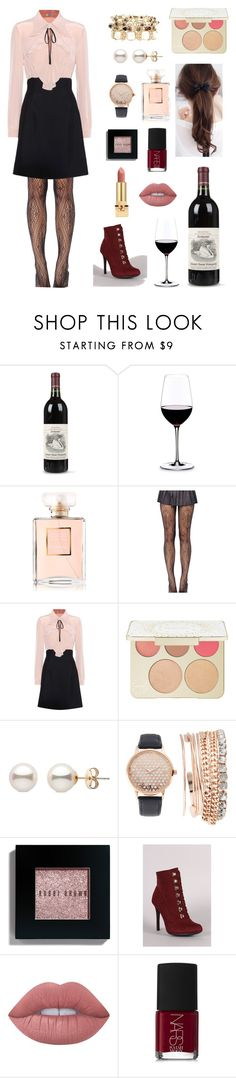 """""""Blushing over you"""" by delicate2dauntless ❤ liked on Polyvore featuring Riedel, Chanel, Miu Miu, Becca, Jessica Carlyle, Bobbi Brown Cosmetics, Anne Michelle, Lime Crime, NARS Cosmetics and Yves Saint Laurent"""