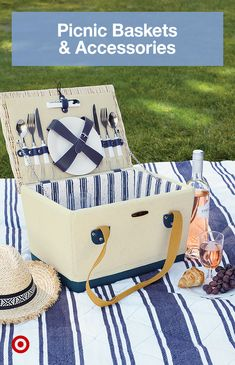 Summer is for picnic fun! Find ideas, picnic baskets, tables & accessories to enjoy a brunch date or outdoor activity with family. Picnic Backpack, Picnic Bag, Picnic Baskets, Picnic Time, Camping Chairs, Outdoor Camping, Portable Picnic Table, Roadside Emergency Kit, Grill Cart