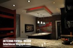 Modern and contemporary false ceiling designs for kitchen, it's gibson board ceiling with suspended ceiling design ideas, this is top catalog of kitchen ceiling false designs with colored light Drop Ceiling Lighting, Gypsum Ceiling, Cove Lighting, Ceiling Lights, Ceiling Ideas, Lighting Ideas, Lighting Design, Pendant Lighting, Gold Ceiling