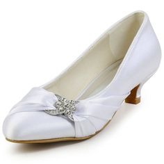 c5c49016846785 EP2006L White Elegant Low Heel Women Pumps Rhinestones Satin Bridal Shoes