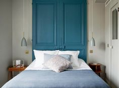 my scandinavian home: My stay at the beautiful Hotel Henriette, Paris (bedroom in blues and grey). Paris Hotels, Hotel Paris, Paris Rue, Paris France, Hotel Henriette Paris, Home Bedroom, Bedroom Decor, Paris Bedroom, Bedroom Apartment