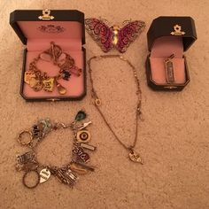 2 charm bracelets, a hair clip, a charm, necklace One juicy couture charm bracelet, a necklace from juicy, and also a charm from there too! A pink rhinestone butterfly hair clip and a lucky brand charm bracelet! Jewelry