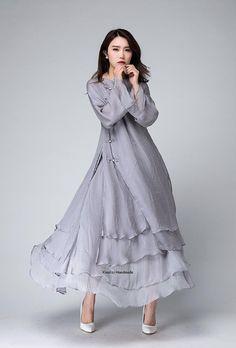 A set of Gray chiffon dress with maxi skirt 1496