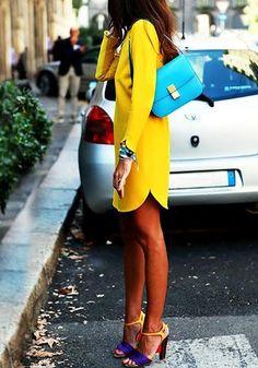Side view of yellow cutout-back shift dress