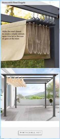 DIY Pergola Retractable roof shade Slide the Dac – DIY lampshade … - Modern Diy Pergola, Wood Pergola, Outdoor Pergola, Pergola Shade, Pergola Plans, Backyard Patio, Pergola Lighting, Pergola Ideas, Diy Patio