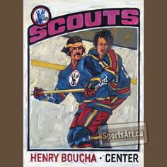 """Kansas City Scouts Card"" - my painting of Henry Boucha. Hockey Cards, Baseball Cards, New Jersey Devils, National Hockey League, Sports Art, Hockey Players, Love Art, Scouts, Kansas City"