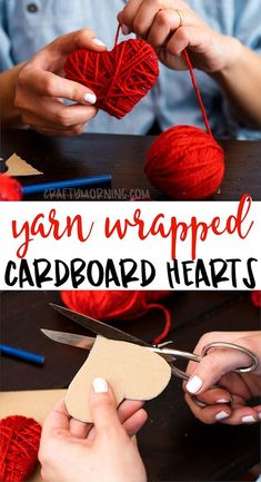 Make some cute yarn wrapped cardboard hearts for a valentines day craft idea! Kids valentine craft art pr Make some cute yarn wrapped cardboard hearts for a valentines day craft idea! Kids valentine craft art project to make. Valentine's Day Crafts For Kids, Valentine Crafts For Kids, Valentines Day Decorations, Toddler Crafts, Holiday Crafts, Fun Crafts, Easy Yarn Crafts, Homemade Christmas Decorations, Heart Decorations