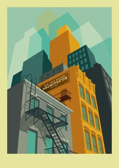 Striking, Colorful Illustrations Of NYC's Famous Landmarks & Neighborhoods - DesignTAXI.com