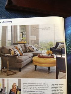Gray, yellow, navy color pallet-LOVE color scheme, navy chairs.  Everything.
