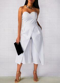 White Zipper Back Straight Leg Strapless Jumpsuit | liligal.com - USD $37.26