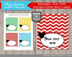 INSTANT DOWNLOAD Mouse Clubhouse Editable Printable Chevron Food Tent Cards…