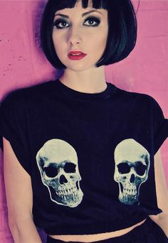 Skull Boobs Print Black Crop T-shirt from Alice Takes A Trip