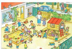Taal, pragmatiek/integratie, praatplaat. Thema: de speelplaats, school. Picture Writing Prompts, Picture Boards, Exercise For Kids, Cartoon Pics, Speech And Language, Literacy, Preschool, Clip Art, Teaching