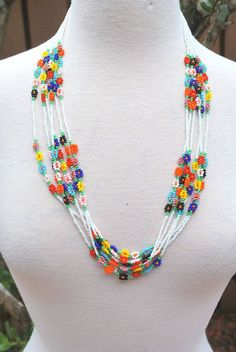 Vintage White Multicolor bugle bead seed bead hand made beaded necklace Hippie Boho Chic GroovyBugle Seed Bead Fringe Native American Necklace measures 9 long and fits up to 14 neck. fragile and hand beaded necklace and should be handled very careful Seed Bead Necklace, Seed Bead Jewelry, Bead Jewellery, Beaded Earrings, Diy Jewelry, Handmade Jewelry, Beaded Bracelets, Pearl Necklace, Necklaces