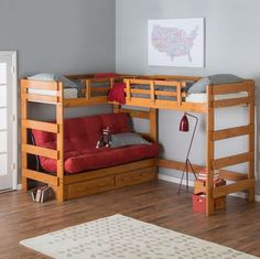 Woodcrest Heartland Futon Bunk Bed with Extra Loft - Honey Pine - Think outside the bed. The Woodcrest Heartland Futon Bunk Bed with Extra Loft makes space where there once was none! Its double loft, L-shape configur. Futon Bunk Bed, Loft Bunk Beds, Bunk Bed With Desk, Modern Bunk Beds, Bunk Beds With Stairs, Kids Bunk Beds, Bedroom Modern, Bed Mattress, Loft Bed With Couch