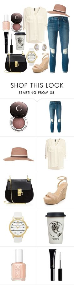 """""""Untitld#1423"""" by mihai-theodora ❤ liked on Polyvore featuring Chantecaille, J Brand, Topshop, H&M, Chloé, Schutz, Kate Spade, Natural Life and Essie"""