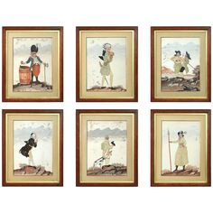 Rare and Charming Set of Six 18th Century Silk Applique and Gouache Pictures | 1stdibs.com