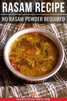 This rasam is sour, spicy & body warming. its best to have rasam in chilly winters or when you are suffering from cough and cold. South Indian Vegetarian Recipes, South Indian Food, Indian Food Recipes, Indian Snacks, Vegetarian Vegetable Soup, Vegetable Soup Recipes, Veggie Food, Food When Sick, Easy Rasam Recipe