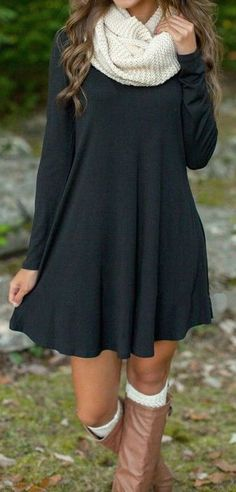 #fall #fashion / dark gray dress + white scarf