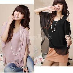 Charming Women Chiffon Off-shoulder Splicing Shirts Tops Blouse 2 Colors