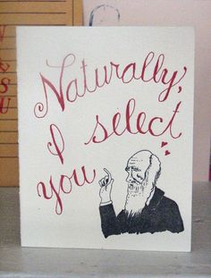 Charles Darwin Valentine by SouthernPestPrints on Etsy, $5.00
