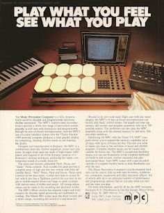"""MPC Electronics Music Percussion Computer """"Play What You Feel."""" colour advertisement from the December 1983 issue of Keyboard Magazine. Old School Music, Old Music, Make Easy Money, Need Money, Percussion, Boba Fett Action Figure, Tatiana Maslany, Vintage Drums, Drum Machine"""
