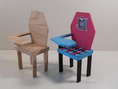 Monster High Furniture - Miniature 1:6 scale (Playscale) Wood Coffin School Desk. Unassembled, unfinished.. $6.50, via Etsy.