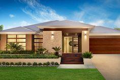 Inspirational House Designs Exterior Single Story Brick Stone detail on facade Modern Tropical House, Modern House Design, Model House Plan, House Plans, Modern Exterior, Exterior Design, Style At Home, Casa Clean, Facade House
