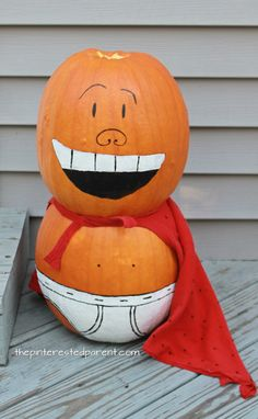 Painted Captain Underpants pumpkins for fall and Halloween. If your kids love the Captain Underpants's books or movie, they will love this no carve pumpkin idea. Autumn arts and crafts