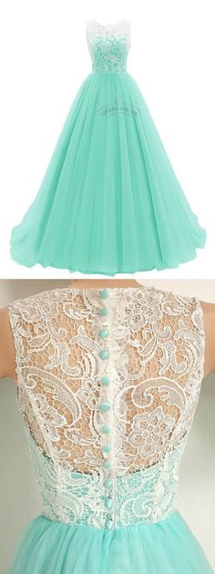 Elegant Mint Prom Dresses,Ruched Lace Prom Dresses,Sleeveless Prom Dresses, Long…