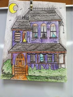 """The Clever Feather - """"Fifth grade is drawing an elevation in Victorian style architecture-with some spooky additions if they'd like."""""""